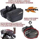Kappa LH202 Satteltaschen für Motorrad und Motorroller, Universalbefestigung mit Riemen, Fassungsvermögen erweiterbar 16bis 25 l, schwarz
