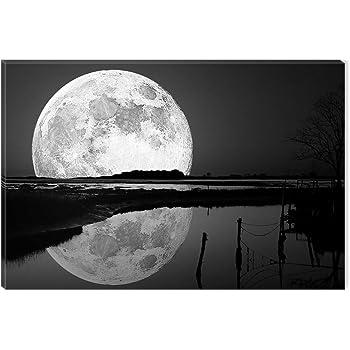 Startonight Quadro su Tela Bianco e Nero La Luna nell\'albero, Stampe ...