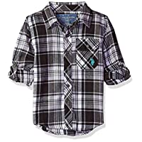 U.S. Polo Assn. Boys' Long Sleeve Plaid Shirt, Campfire Coal, 7