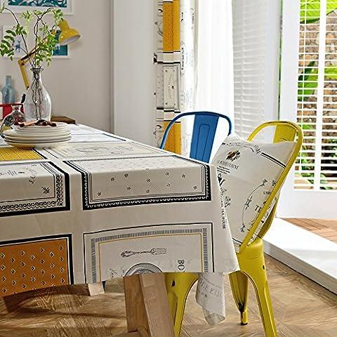 Qingv Nordic frischen Stoff Esstisch amerikanische Baumwolle Tischdecken Tischdecke Abdeckung Handtuch über Tischdecken rechteckige weiße, 145 * 200