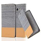 Cadorabo Hülle für Samsung Galaxy J7 2016 (6) - Hülle in HELL GRAU BRAUN – Handyhülle mit Standfunktion und Kartenfach im Stoff Design - Case Cover Schutzhülle Etui Tasche Book