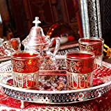 Casa Moro Orientalische verzierte Teegläser im 6er Set Bellar Rot Gold | Marokkanische Tee Gläser 6 teiliges Set aus Marrakesch | Teeglas für kreative Dekoration Ideen und Heißgetränke