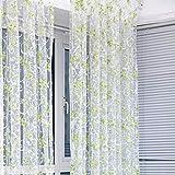 Tongshi 200x100cm Imprimir cortina de puerta de gasa floral ventana Habitación cortina del tabique de la bufanda (Verde)