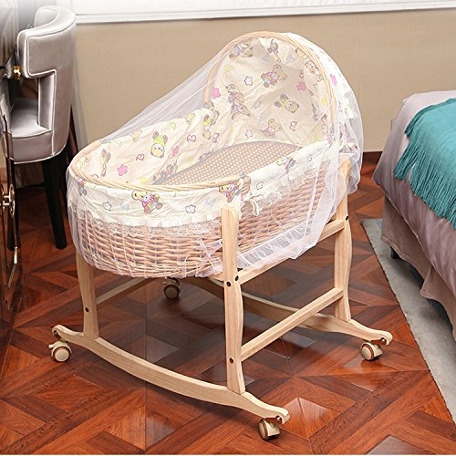 Aibab sdraiette e dondolini la struttura portatile di legno solido del rattan del pavimento del bambino del bambino può spingere il letto del letto della culla