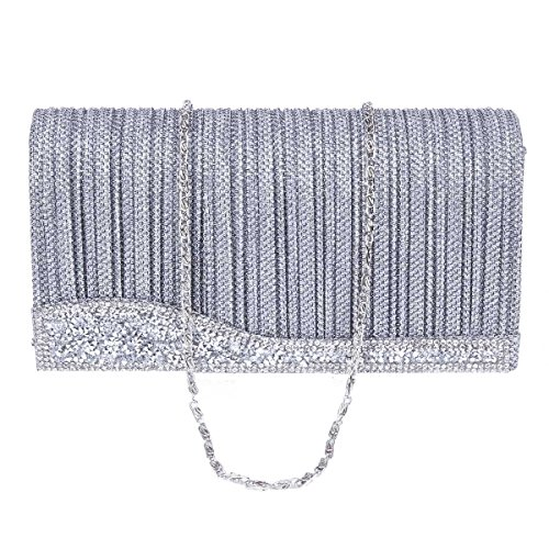 Damara® Ladies Pleat Throw Diamante Borsa Da Sera Medio Nobile Oro