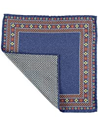 French Blue and Green Reversible Silk Pocket Square
