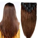 """10""""-22"""" Extension Cheveux Naturel a Clip Maxi Volume Tête Entière - 100% Remy Human Hair Double Weft 8 Pcs Extensions (#04 Châtain, 25cm-110g)"""