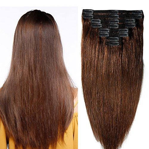 Clip in extensions echthaar Doppelt Tressen 100% Remy Echthaar 8 teiliges set Haarverlängerung dick (55cm-160g,#4 Schokobraun)