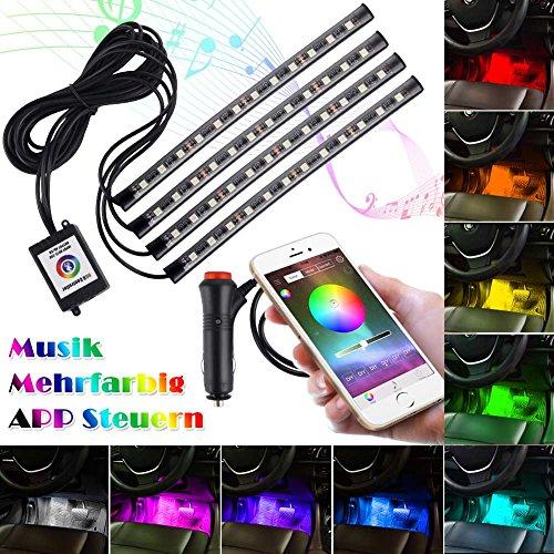 Openuye Auto Innenbeleuchtung Atmosphäre Lampe 4x12LEDs App Fernbedienung RGB Innenleuchte Streifen Licht Mode Auto Innendekoration Wasserdicht Leuchten Neon mit Musik Rhythmus Licht(48 - Gesichts-licht-schalter