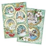 Ideazione con Cuore 2 Fogli di Carta di Riso in Carta Pregiata per decoupage, DIN A4, 2 Diversi Motivi, Vintage, Natale e Altri
