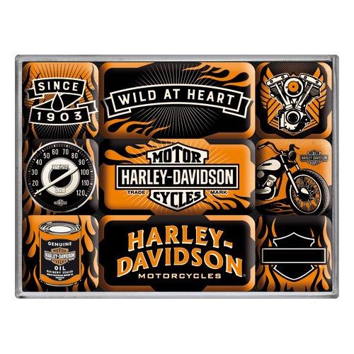 Nostalgic-Art 83096 Harley-Davidson - Wild At Heart, Magnet-Set (9teilig)