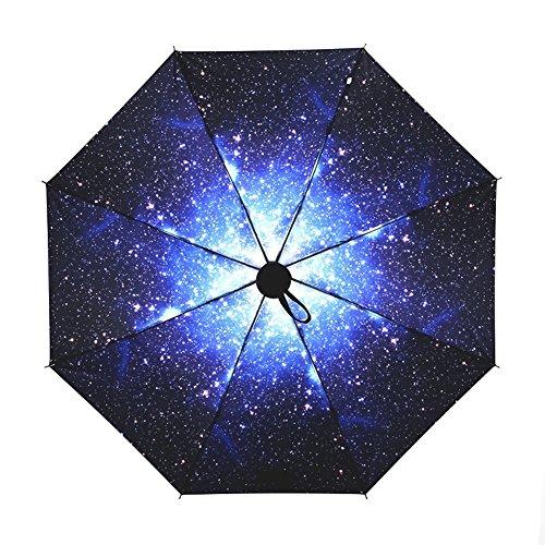 Ai-life pieghevole da viaggio compatto ombrello, 50+ anti vento anti-uv pioggia / sole ombrello, cielo stellato pieghevole creativo compatto e leggero parasol telescopica ombrello per viaggio outdoor