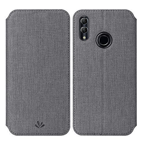 Feitenn für Huawei P Smart 2019 Hülle, Huawei Honor 10 Lite Handyhülle PU Leder Flip dünne Handy Schutzhülle   TPU-Stoßstange, Magnetverschluss, Kameraschutz- und Standfunktion Brieftasche Etui Grau
