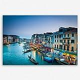 ge Bildet® hochwertiges Leinwandbild XXL - Canal Grande in Venedig - Italien - 120 x 80 cm einteilig | Wanddeko Wandbild Wandbilder Wohnzimmer deko Bild | 1927