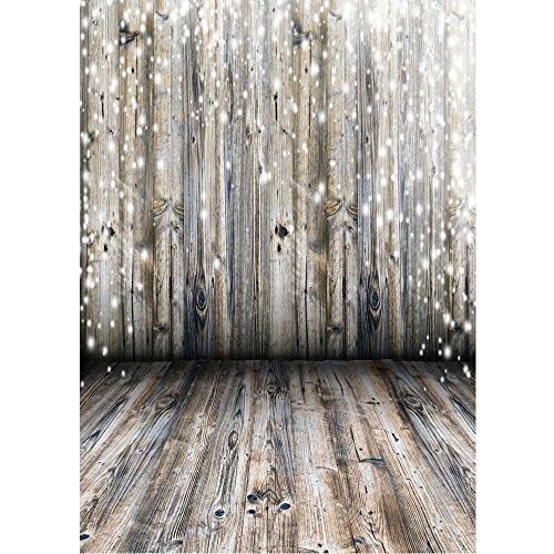 kingko 90 * 150cm 3x5FT F Fotografie-Hintergrund Digital-gedruckter hölzerner Wand-Fußboden für Kind-Kinder Baby-Neugeborenes Porträt-Studio-Fotografie braun Retro Photography (F) - 5' Wand