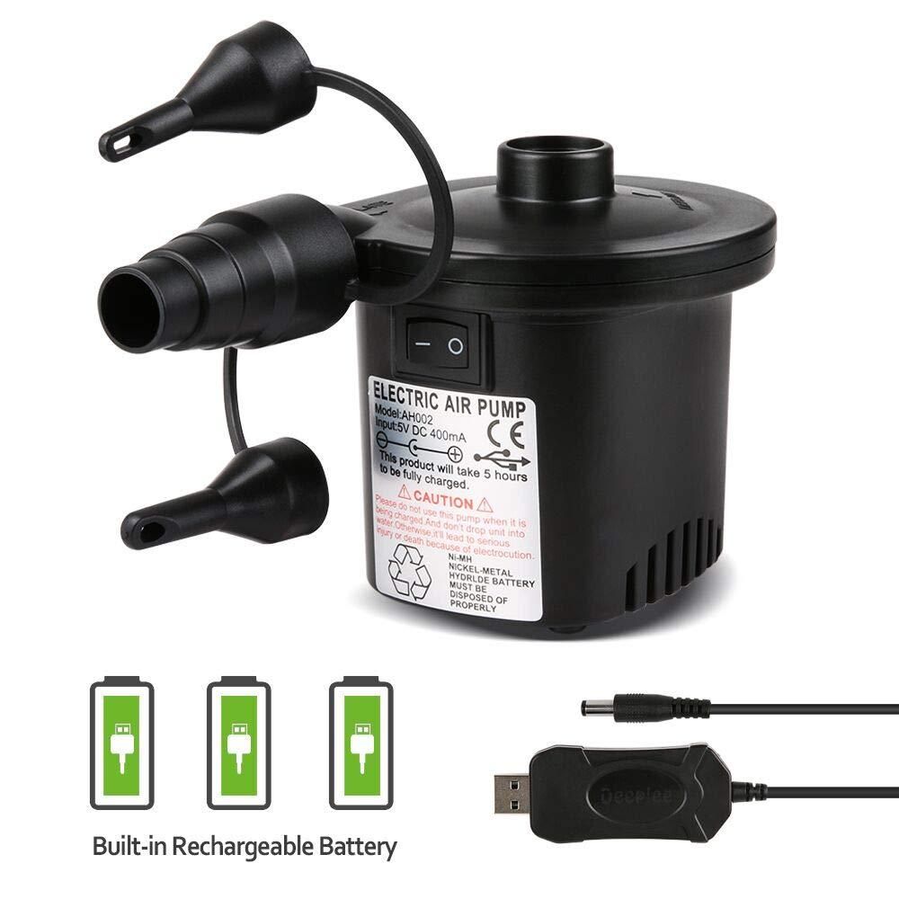 Deeplee Bomba de Aire Eléctrica, Inflador Eléctrico Recargable de llenado Rápido para Inflar/Desinflar Bote Inflable, Colchón de Aire, Juguete Inflado, 3 Boquillas Incluidas (Adaptador USB: 5V)