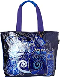98e7e28f56 Laurel Burch Foiled Indigo Cats Shoulder Tote
