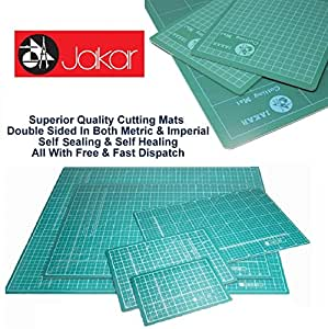 Jakar A0 Green Self Healing Sealing Cutting Mat Double Sided Metric Imperial cm mm Inch Non Slip Printed Square Grid Line Professional Quality (1189 X 841 X 3mm Inch) by Jakar