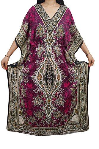 Indiatrendzs Women Dashiki Kaftans Light Viscose Kimono Kaftan Lounger Dress 56\ (Pink)