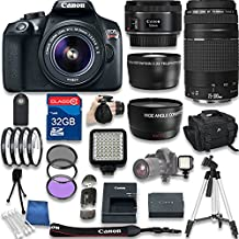 Canon Eos Rebel T6 DSLR Camera + Canon EF-S 18-55mm Is II Lens + Canon EF 75-300mm F/4-5.6 III Lens + Canon EF 50mm F/1.8 STM Lens + 32GB SD Memory Card + Accessory Bundle - International Version