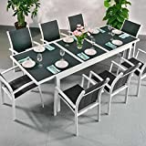 Florence Tisch & 8 Stühle - WEIß & GRAU | Gartenmöbel-Set mit ausziehbarem 240cm Tisch