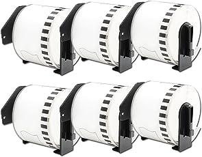 6 Rollen Brother DK-22205 Kompatibel Endlos Etiketten 62mm x 30.48m Schwarz auf Weiß für Brother P-Touch QL-570 QL-720NW QL-710W