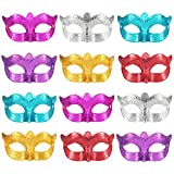 Bememo 12 Stücke Unisex Überzogene Maskerade Halbe Gesichtsmaske Hochzeit Requisiten Mardi Gras Party Masken Karneval Kostüm Zubehör