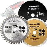 3 Stück Sägeblätter Mini Handkreissäge HM Holz HSS Kunststoff/Diamant Trennscheiben Fliesen 85 x 10 mm für HandyCut Worx