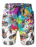 Loveternal Badeanzüge für Männer Badehose Ananas Strand Kurze Hosen 3D Print Elastische Taille Surfing Badeshorts XXL