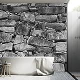 FOTOTAPETE ,,Black & White Stonewall 103' 366 x 254cm Steinwand Steine Mauer Fels schwarz weiß Tapete inklusiv Kleister