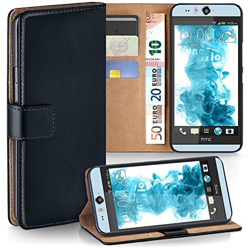 moex HTC Desire Eye   Hülle Schwarz mit Karten-Fach 360° Book Klapp-Hülle Handytasche Kunst-Leder Handyhülle für HTC Desire Eye Case Flip Cover Schutzhülle Tasche