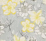 A.S. Création Papiertapete Urban Flowers Ökotapete Tapete floral 10,05 m x 0,53 m gelb grau weiß Made in Germany 327982 32798-2