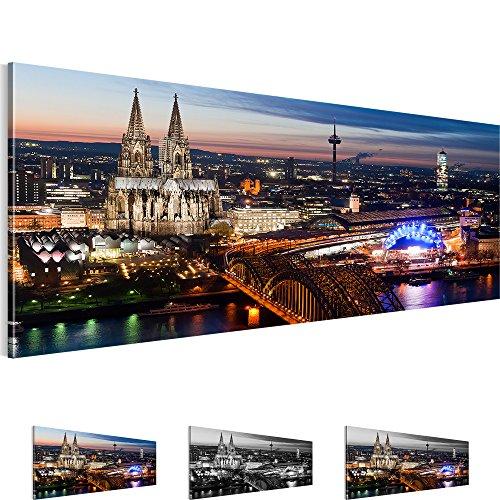 Bilder 110 x 40 cm - Köln Bild - Vlies Leinwand - Kunstdrucke -Wandbild - XXL Format – mehrere Farben und Größen im Shop - Fertig Aufgespannt !!! 100% MADE IN GERMANY !!! - Stadt – City – Nacht 601511a
