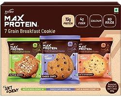 RiteBite Max Protein 7 Grain Breakfast Cookies - Assorted ( Pack of 12 (660g) ) - Choco Chips, Oats & Raisins, Nuts & Seeds.