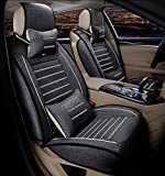 FREESOO Q3501796-03-Flax QCZD-black Autositzbezug Schonbezug Leinen Schwarz