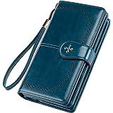 Geldbörse Damen Leder Gross Geldbeutel Damen Groß RFID Schutz Damen Portmonee Leder mit Handyfach und Reißverschluss Viele Fä