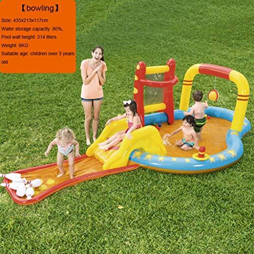 LIJUEZL Kinder-aufblasbare Pool-Wasserrutschen, PVC-Bill-Blungspolfplatz für Baby über 3 Jahre,C