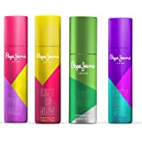 Pepe jeans London be Your Self, Life IS Now,Let's have Fun & good Vibes Deodorant Spray (Pack Of 4) For Women, 150 ml (Pack o