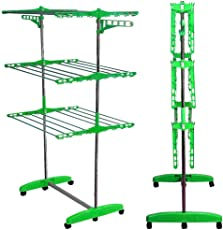 Best Seller Full Size Jumbo Foldable 24 Stainless Steel Rod Cloth Dryer Hanger Stand | Rack with Wheel