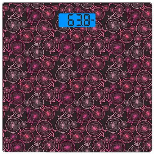 Precision Digital Body Weight Scale Fahrrad Ultra Slim Gehärtetem Glas Personenwaage Genaue Gewichtsmessungen, abstrakte Muster von Vintage-Bikes in verschiedenen Schattierungen von Pink Retro Nostalg