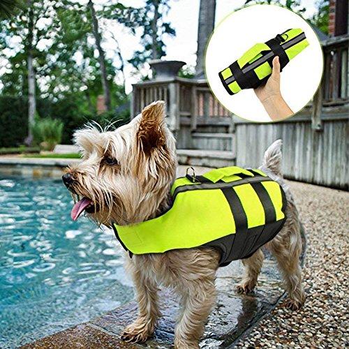 NACOCO Luftkissen Hund Rettungsweste faltbar aufblasbar Haustier Kostüm Sicherheit Outdoor Schwimmen im Sommer Hunde, L, grün (Grüne Aufblasbare Kostüm)
