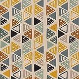SCHÖNER LEBEN. Dekostoff Baumwollstoff Dreiecke in Reihen beige Petrol Ocker schwarz 1,4m Breite