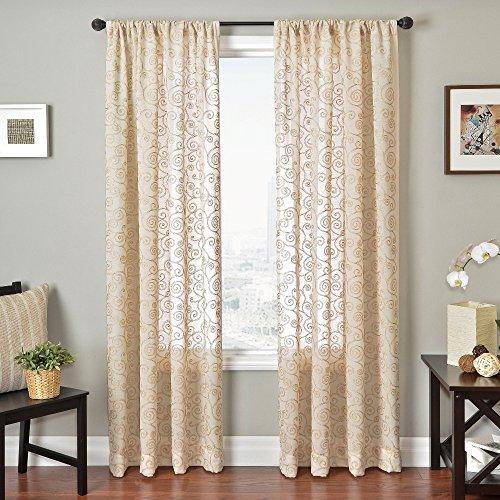 Softline Home Fashions bestickt Fenster Sheer/Panel/Vorhang/Behandlung/Fall mit Kette genäht Design mit Stab Tasche in natur, natur, 55 Inches x 96 Inches