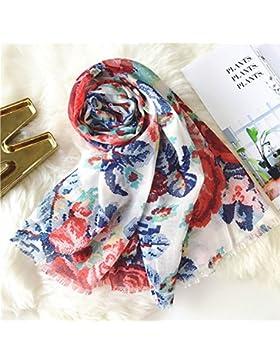 Nueva Primavera mujer de algodón fino pañuelo flor brillante otoño imprimir chal de cachemir ,Blanca,180*90 cm.