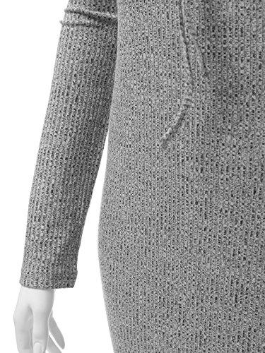 Wenseny Damen Lange Ärmel Sexy Schnürung Riemen V-Ausschnitt Knit Kleid Hellgrau