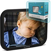 Funbliss Baby Car Mirror for Back Seat Black -- Safely Monitor Infant Child in Rear Facing Car Seat,See Children or Pets in Backseat,Best Newborn Car Seat Accessories, Fully Assembled, Shatterproof
