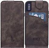 Burkley Lederhülle geeignet für Apple iPhone X/iPhone XS Handyhülle Case Cover - bruchfeste Schutzhülle passend für iPhone X/XS - QI-Fähig - Handmade (Dunkel Braun)
