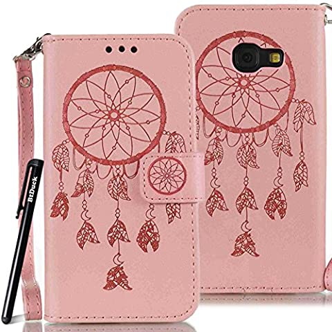 BtDuck Leather Case for Samsung Galaxy A3 2017 inch Pink Dreamcatcher Feather totem Indian ancient Wind chimes PU Stand Embossed Phone Protector PU Leather Flip Folio Cover Anti-slip Skin Outdoor Protection Simple Strict Shockproof Heavy Duty Robust Bumper Case Shell with Stander Oyster Card ( Travel Card Bus Pass)Holder Slots Pocket Kickstand Function Magnetic Closure + 1 * Black Stylus Pen
