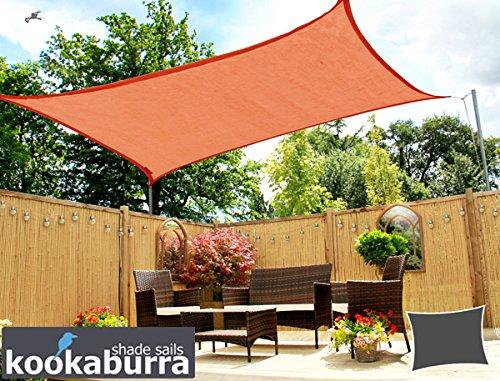 Kookaburra Tenda a Vela Quadrata 5,4m Intrecciata Traspirante Protezione Anti Raggi 93.3% UV per Ombreggiare Il Giardino, Terrazzo o Balcone (Terracotta)