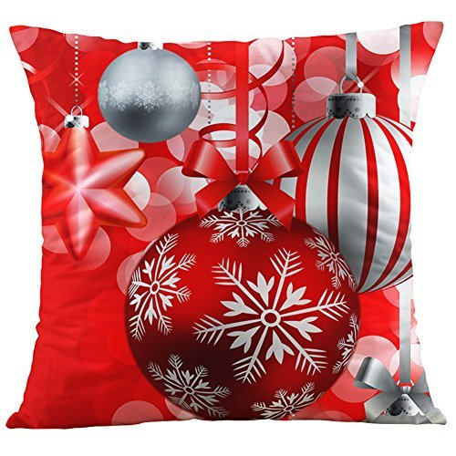 Vesub, copricuscino natalizio, da regalo sotto l'albero di natale, 45 x 45 cm, in cotone, copricuscino decorativo per la casa, per il divano, cotone/lino, #4, 1 pezzo